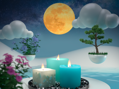 3D Candle lights design illustration lights candle