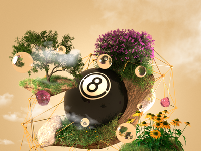 8ball Spring 3d art 8ball illustration design