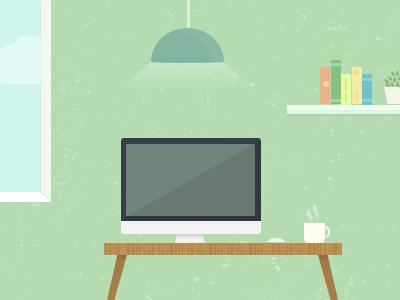 Room illustration desk imac room vector