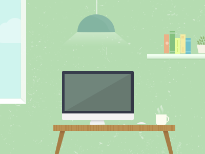 Room illustration desk imac room vector