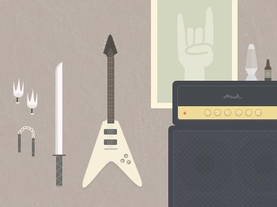 Ninjarockstar illustration guitar ninja rockstar amp