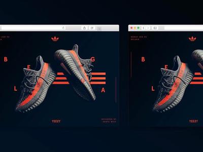 Yeezy Beluga - Landing page orange website concept fashion dark sketch ui sneaker landing page kanye adidas yeezy
