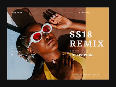 Sun Daze - Online store homepage concept web design store fashion website web ui photography homepage concept interface e-shop interaction