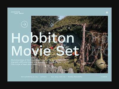Another day away - Hobbiton hobbiton blue layout design ui clean modern interaction ui blog travel website concept type landing page website typography minimal