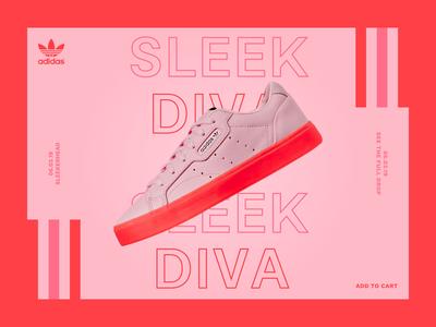 Sleekerhead (Adidas) - Landing concept shoes sneaker interface landing grid simple modern clean ui  ux homepage landing page red pink adidas originals sneakers concept website typography minimal web