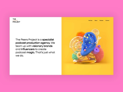 The Peers Project | Homepage ux ui websites interface branding illustration 3d podcast web design landing page web vibrant colors bright landing website typography minimal