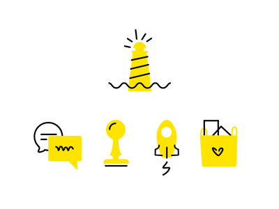 Sketch Icons house light chat stamp rocket lighthouse sketch icons