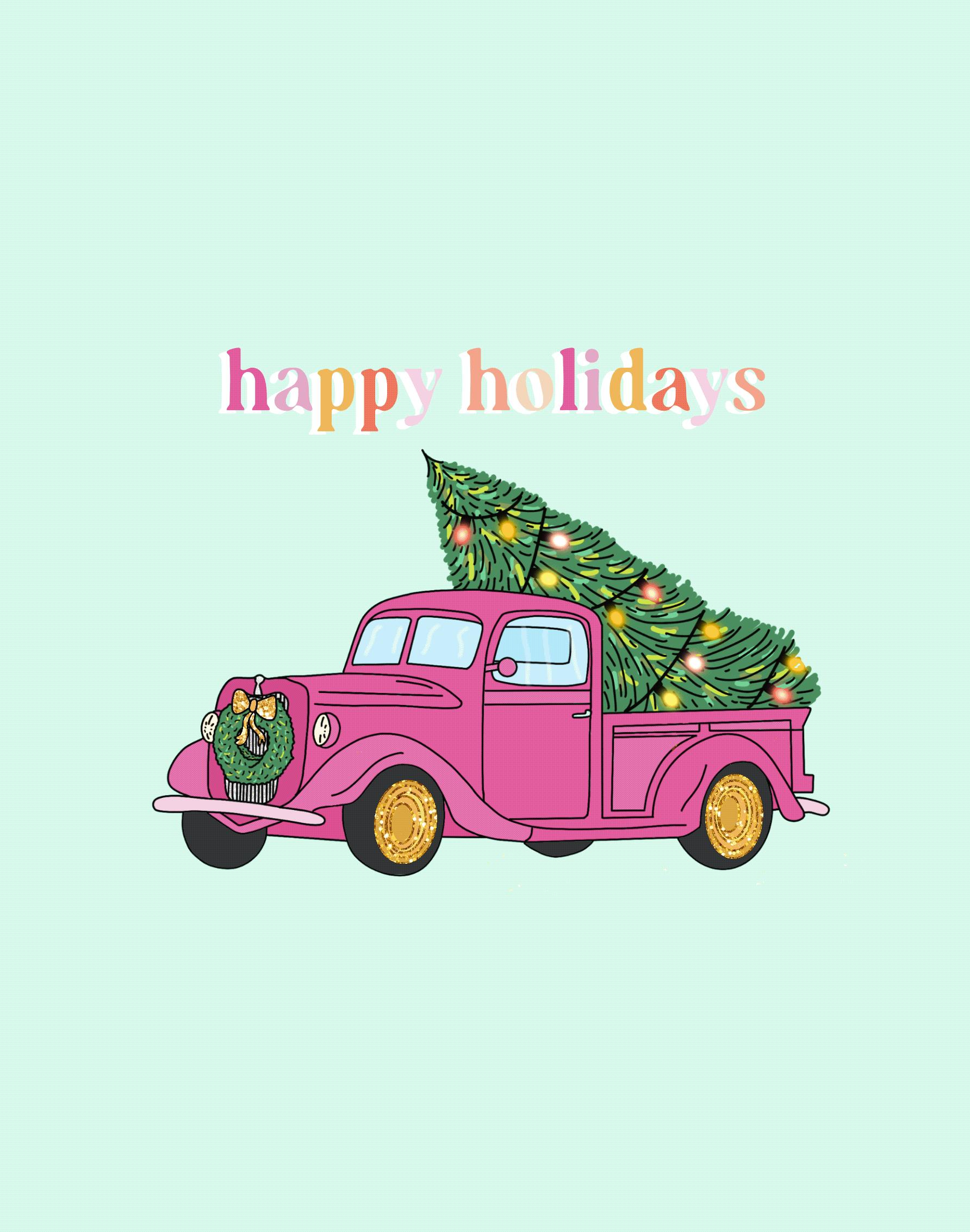 Pink Christmas Tree Truck Illustration fun girly glitter procreate animation pink procreate illustration procreate christmas tree christmas truck tree christmas illustration holiday illustration happy holidays holidays pink christmas christmas truck