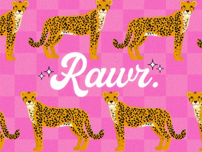 Fun Cheetah Illustration Art typography illustration feminine bright colorful procreate y2k checker print checker checkered leopard print leopard cheetahs cheetah