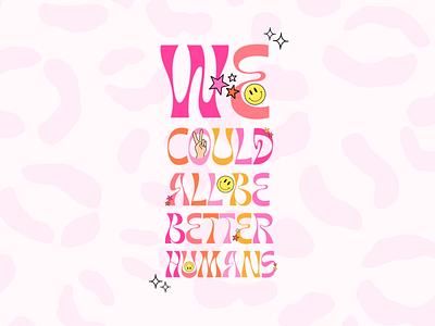 Y2K Inspired Typography Design 90s fun retro saying quote social media trendy pretty leopard smiley aesthetic y2k design procreate app typography illustration feminine bright colorful procreate