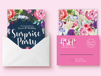 Boho Surprise Party Invitation Design watercolor floral pink handlettering handdrawing hand drawing hand lettering watercolor birthday birthday party 16th birthday sweet 16 party surprise party boho design invitation design invitation invite design invite bohemian boho
