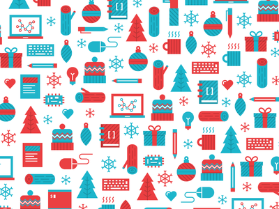 Holiday Pattern  winter flat design icons patter holiday