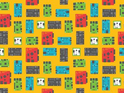 Single Board Computers Pattern flat illustration single board computer pattern