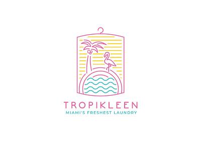 Tropikleen Logo beach fun birght fresh vintage pictoral modern clean retro style minimalist miami retro laundry ui brandidentity design branding logo icon brand