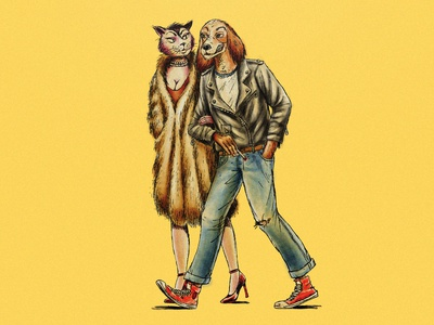 Hound and Kitty Rockers Illustration