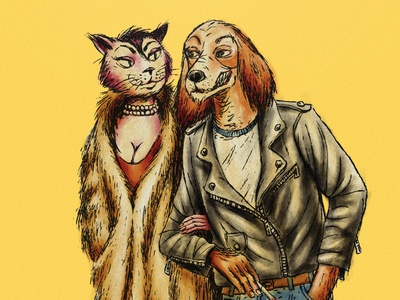 Hound and Kitty Rockers Illustration (Close Up 1)