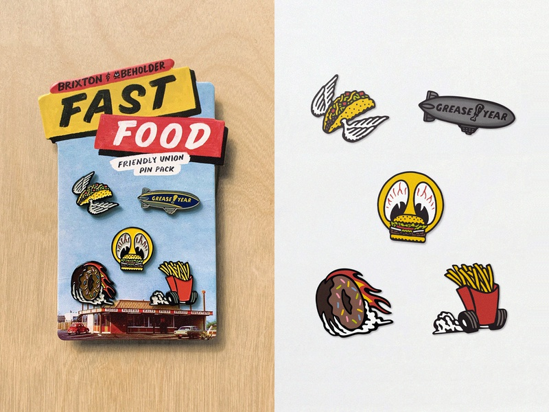 Brixton x Beholder Fast Food Pin Pack hot rod signpainting graphic camping camp logo typography type 60s surf stoner retro 70s vintage illustration