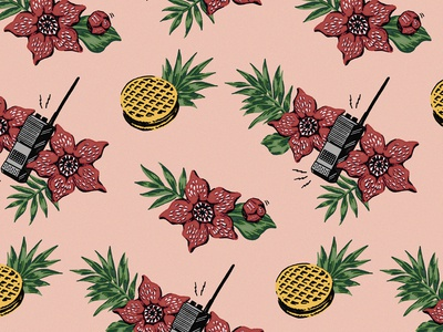 Stanger Things Hawaiian Fan Print (Pink)
