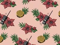 Stanger Things Hawaiian Fan Print (Pink)