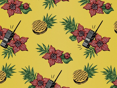Stanger Things Hawaiian Fan Print (Yellow)