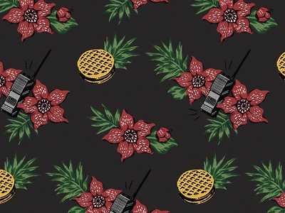 Stanger Things Hawaiian Fan Print (Black)
