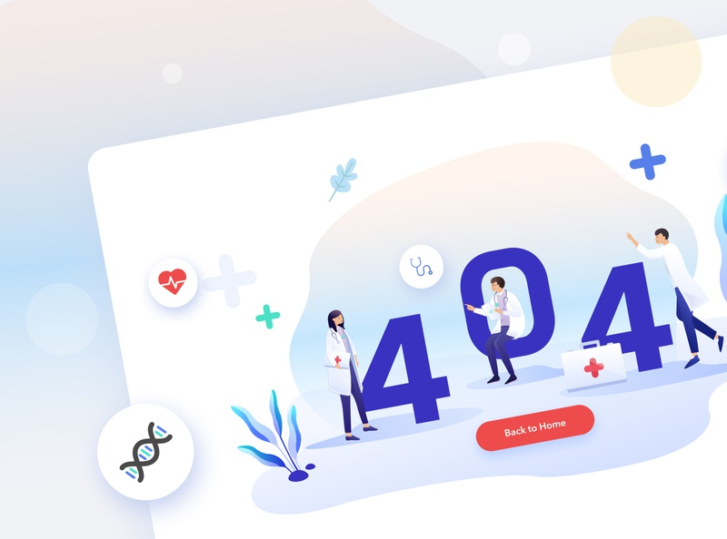 Jio Health - 404 screen design flat ux vector ui illustration