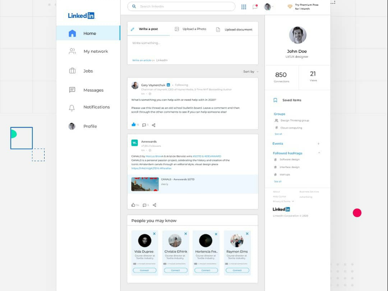 LinkedIn Redesign Concept web development ux ui inspiration interaction design user experience user interface websiteredesign linkedin redesign