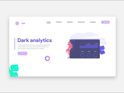 Dark Anaytics Landing Page Ui Design