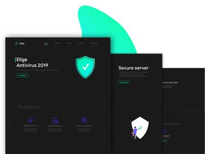 Antivirus website Dark UI design