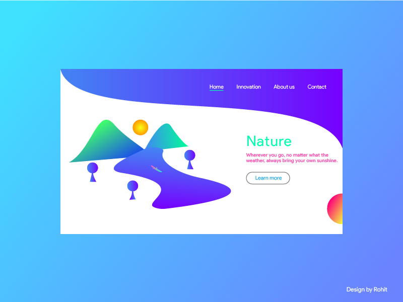 Nature Landing page UI Design nature nature illustration awesome dribble invites shots trend2019 webdesigner vector landing page branding webgradient illustration design art webdesign webui ux ui graphics inspiration