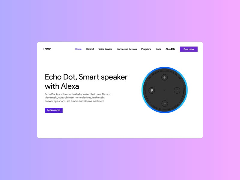 Amazon Echo Dot  Landing page gradients trend2019 illustration webgradient interface inspiration amazon echo dot graphics interactiondesign prototype vector adobe illustrator design web development webdesign ux ui user experience user interface landingpage