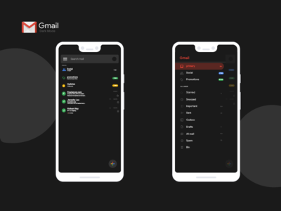 G-Mail redesign concept- Dark Mode for android