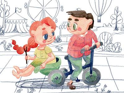 A walk on the bike calendar design calendar 2018 watercolor illustration children illustration colored pencils kids bike walking