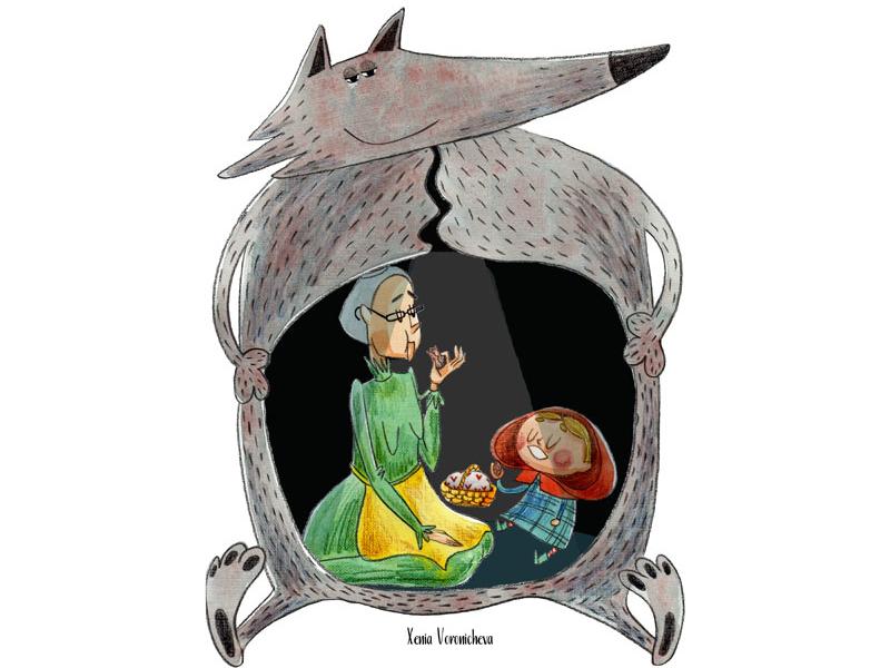 Little Red Riding Hood wolf stomach eating pies wolf grandmom illustrated book kids book children illustrator kidlitart kidlit picture book little red riding hood watercolor illustrations