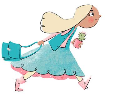 A girl in a hurry doodle art character design ipad pro procreate app procreate art procreate book illustration picture book kid art kid lit children illustration