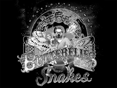 Crooked Eye Tommy Butterflies & Snakes Tee Shirt Graphic
