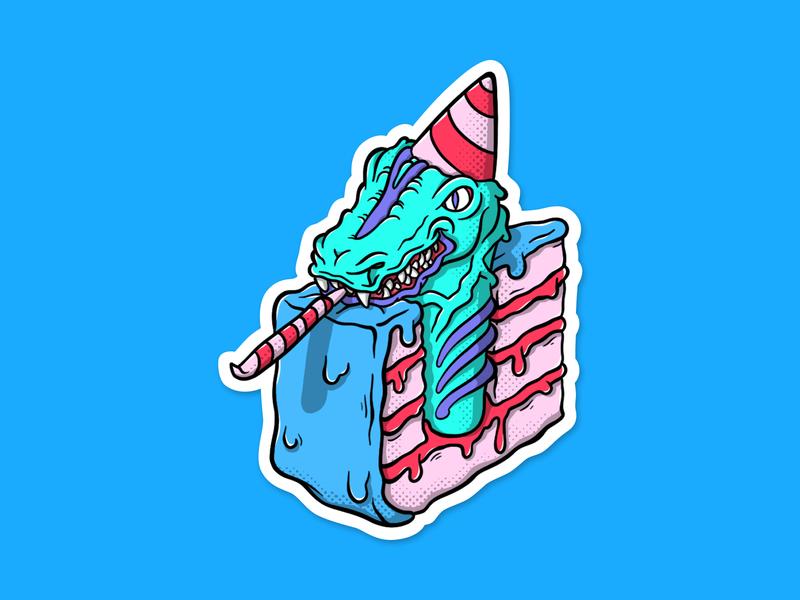 Birthday Cake Dragon Sticker cake graphic fine art design cartoon art dragon graphic design illustration sticker design sticker