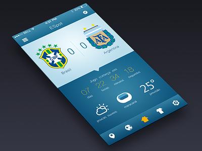 ESpot App ios 7 iphone flat minimalist blue sports football soccer ui ux