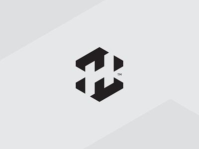 Letter H modular block logo octagon monogram letter h h