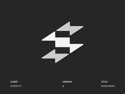 Storm Fitness B storm logotype fitness gym letter s s monogram logo lightning bolt