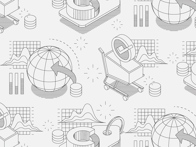 MPS Illustrations report marketplace data money globe shopping cart ecommerce illustration