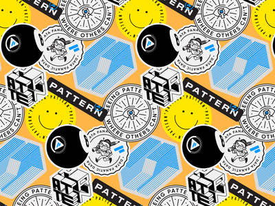 Pattern Stickers invisible all seeing eye pencil nerd cube ecommerce pattern smiley face logo 8ball stickers
