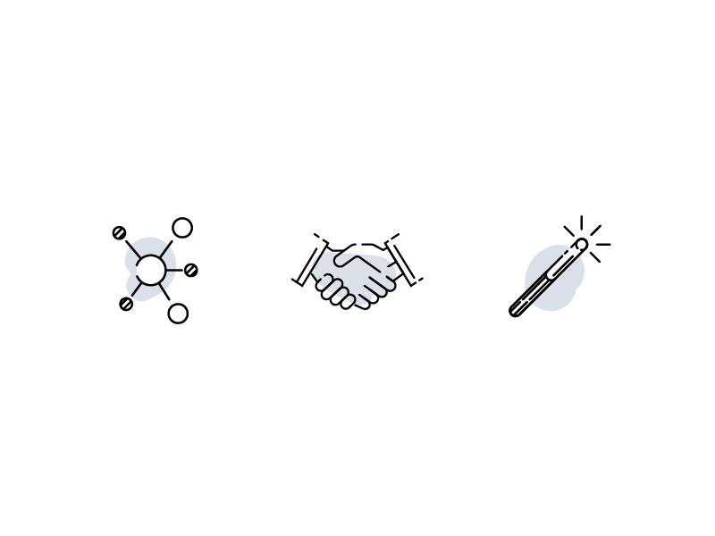 Pinkston Icons illustration magic wand network hand shake icons