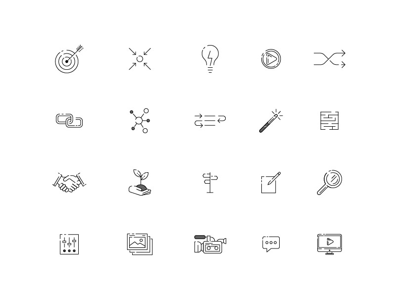 Pinkston Icon Set business network video arts creative icons