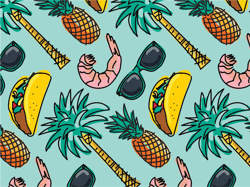 Beach Pattern wacom food island taco summer beach