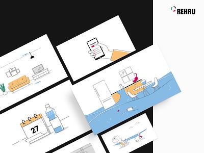 REHAU Video Explainer - Illustration Set simple product design animation explainer outline clean vector scene illustration