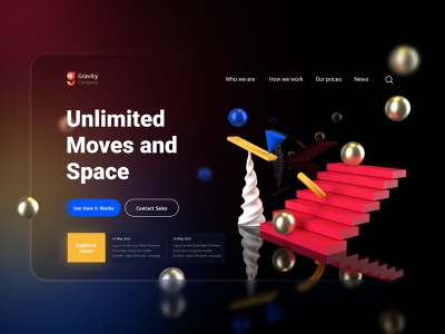Explore Space landing page user interface design 3d modeling illustration ux  ui mock up ui design ui
