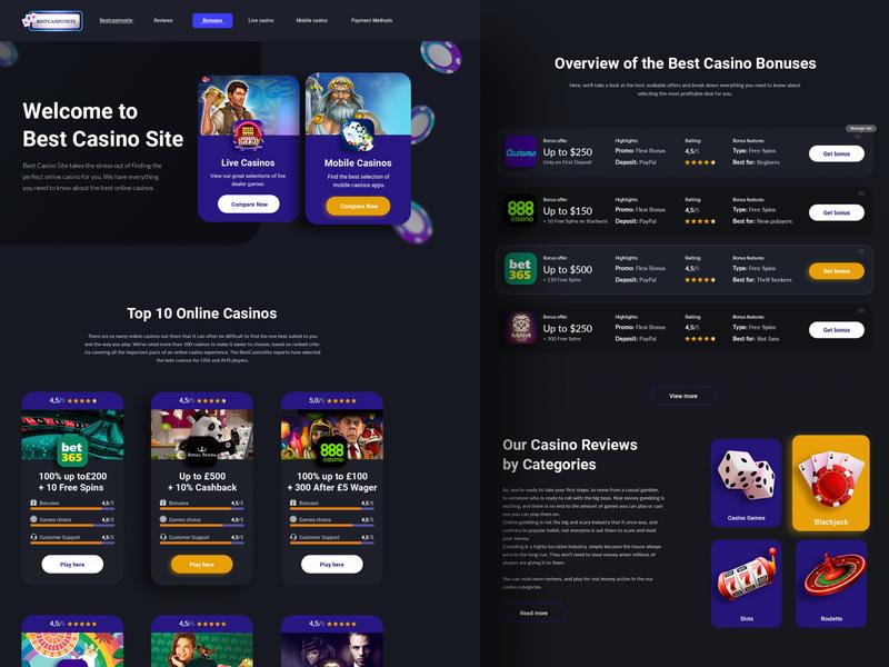 Best Casino SItes casinos casino ui  ux design ui design landing page design landing page web page design uiux ui  ux ui website design webdesign