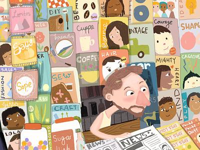 Newspaper stand illustration characterdesign children book illustration neighbourhood alive neighbour shop neighborhood news stand newspaper