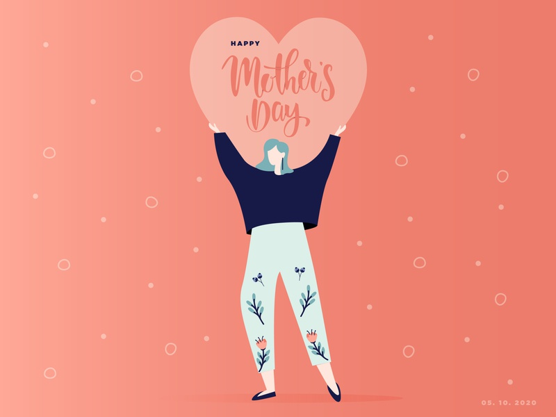Mother's Day heart happy love moms illustration mothersday